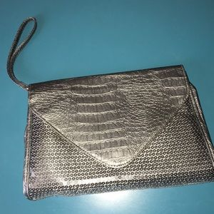 Silver sequin / snakeskin clutch NWOT